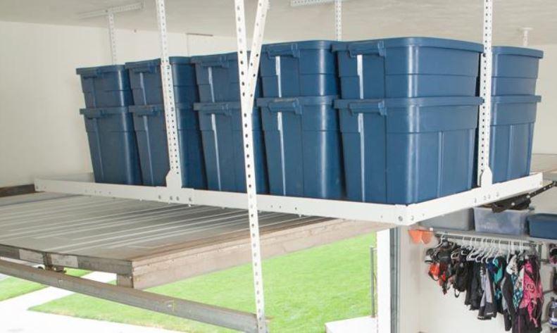 overhead garage storage installation